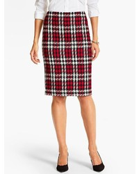 Talbots Merry Plaid Pencil Skirt