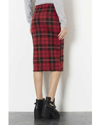 3102971986 Topshop Tall Multi Check Tube Skirt, $48 | Topshop | Lookastic.com