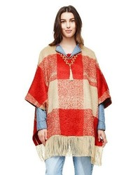 Adam Lippes For Target Mohair Fringe Poncho Red Plaid