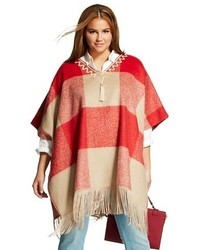 Adam Lippes For Target Plus Size Mohair Fringe Poncho Red Plaid