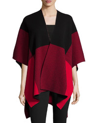 Neiman Marcus Cashmere Collection Intarsia Plaid Cashmere Poncho