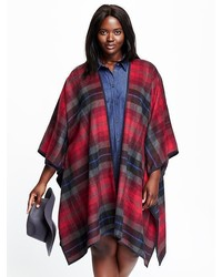 Plaid Plus Size Poncho