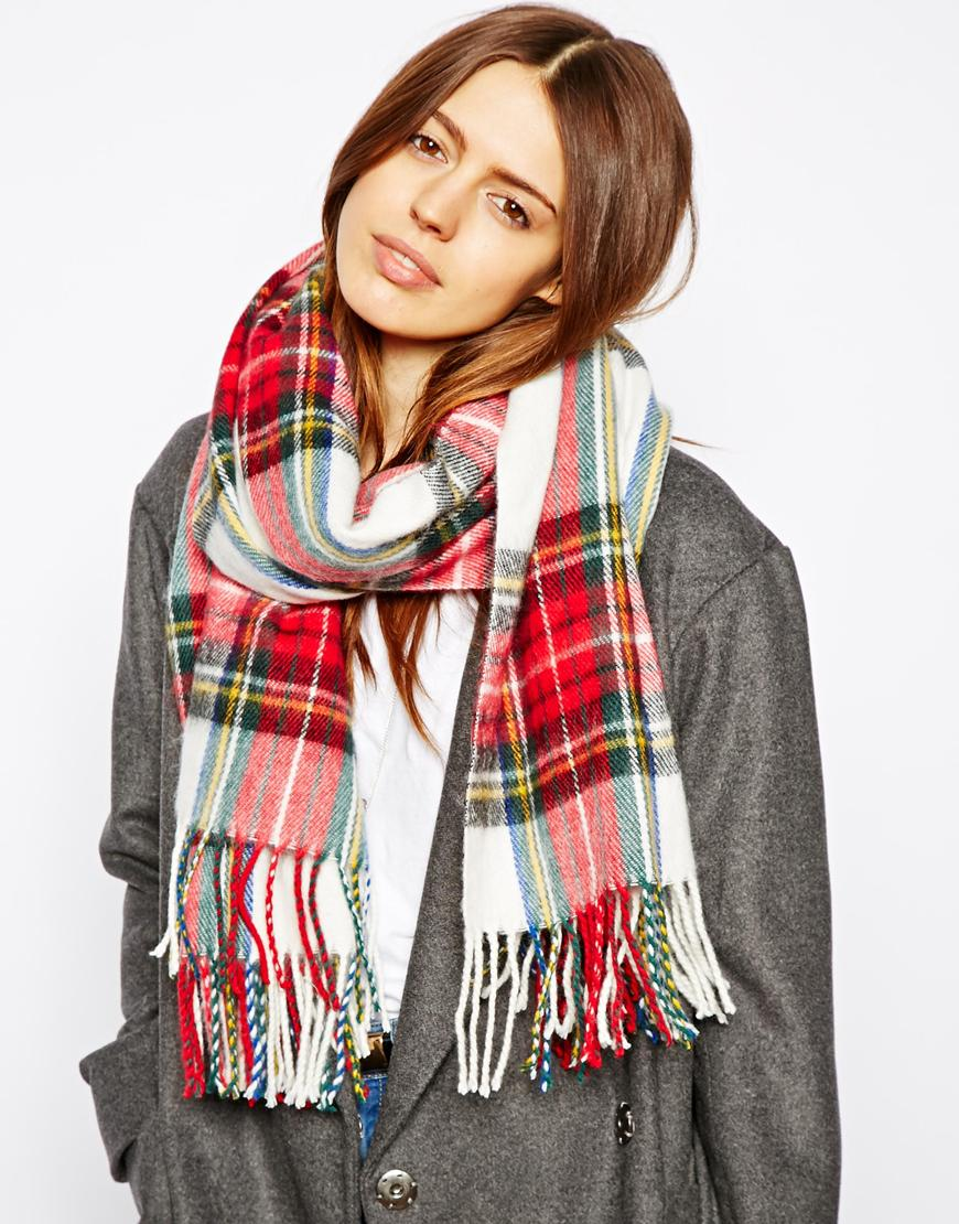 asos plaid check scarf where to buy how to wear