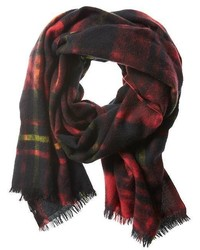 Dyed Red Plaid Wool Scarf
