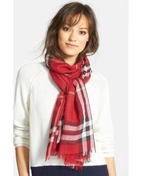 Giant check print wool silk scarf medium 137309