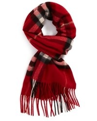 Heritage giant check fringed cashmere muffler medium 137310