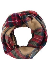 Look By M Wool Plaid Infinity Scarf