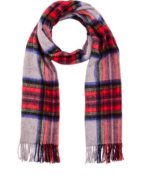 Scotch & Soda Multicolour Check Scarf With Fringes