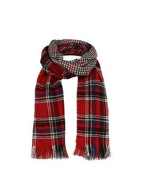 New Look Red Check And Houndstooth Reversible Blanket Scarf
