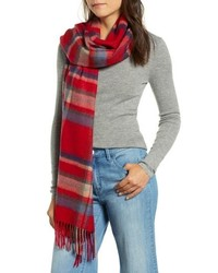 Halogen Plaid Cashmere Wrap Scarf