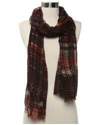 Steve Madden Printed Plaid Scarf
