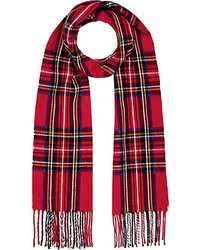 River Island Red Check Blanket Scarf
