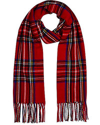 River Island Red Plaid Blanket Scarf