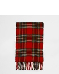 River Island Red Plaid Check Scarf