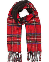 River Island Red Plaid Pattern Reversible Scarf