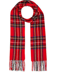 River Island Red Plaid Pattern Scarf