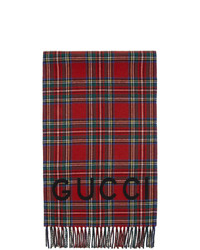 Gucci Red Wool And Cashmere Tartan Scarf