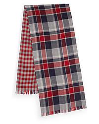 Saks fifth avenue reversible check wool scarf medium 370296