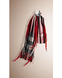 Burberry The Fringe Scarf In Check Cashmere
