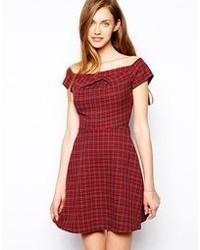 Love off shoulder tartan dress medium 61169