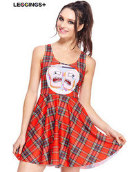 Terrified bread print red plaid sleeveless dress medium 61168
