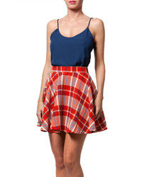 Babel Fair Red Plaid Fit Flare Skirt