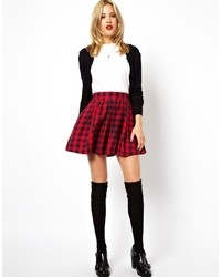 Asos Collection Full Skater Skirt In Brushed Plaid Check