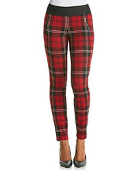 Plaid moto zip pants medium 71870