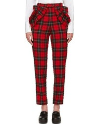 Simone rocha red textured plaid trousers medium 71868