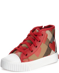 Burberry Warslow Heart Print Check High Top Sneaker Youth