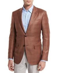 Ermenegildo Zegna Plaid Wool Two Button Sport Coat Rust