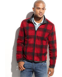 Kenneth Cole Reaction Jacket Reversible Plaid Fleece Jacket