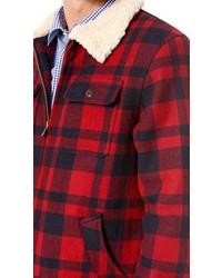 Scotch Soda Lumberjack Plaid Shirt Jacket With Teddy Lining 235