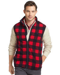 Izod Vest Zip Front Plaid Polar Fleece Vest