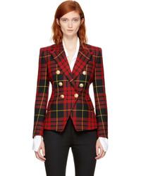 Balmain Red And Black Tartan Six Button Blazer