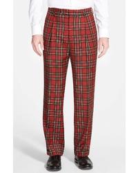 Berle Pleated Plaid Wool Trousers