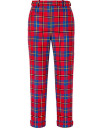 Versace Tartan Wool Straight Leg Pants