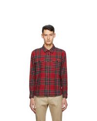 Saint Laurent Red Wool Tartan Shirt