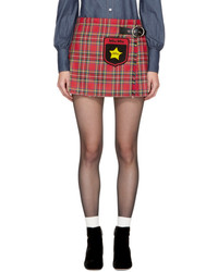 Miu Miu Red Tartan Pleated John Star Miniskirt