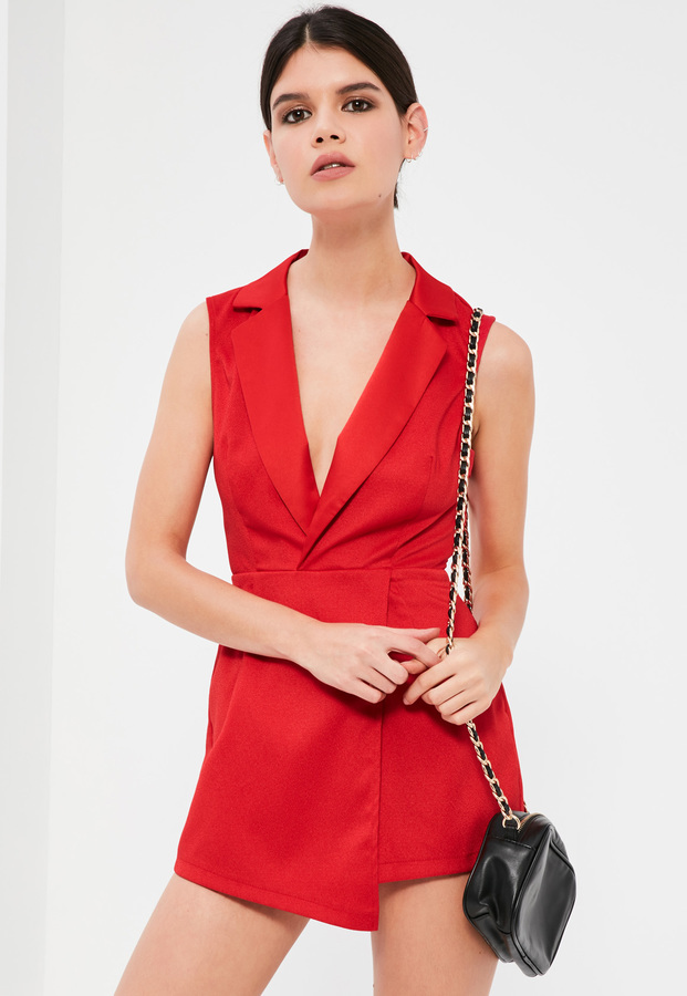 716ee589b2 ... Missguided Petite Red Sleeveless Tuxedo Playsuit