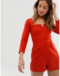 Bershka Notch Front Playsuit In Red
