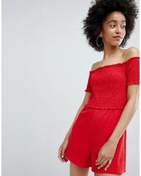 Bershka Off The Shoulder Playsuit In Red