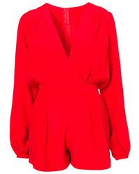 ChicNova Red V Neckline Long Sleeves Chiffon Jumpsuits Rompers
