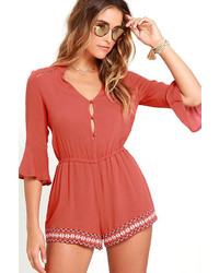 Truth Be Known Rust Red Embroidered Romper