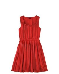Red Pleated Casual Dress