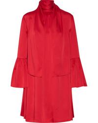 Fendi Pleated Washed Satin Mini Dress Crimson