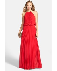 Red Pleated Evening Dress