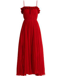 Adam lippes ruffled pleated chiffon gown medium 6460385