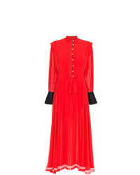 Philosophy di Lorenzo Serafini Collarless Buttoned Pleated Long Sleeve Dress