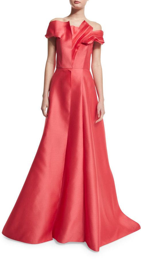 Carolina Herrera Off The Shoulder Pleated Ball Gown Cayenne 6 990 Neiman Marcus Lookastic